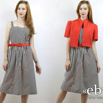 Vintage 80s Black + White + Red Belted Sundress M L Summer Dress Striped Dress Day Dress Work Dress Secretary Dress Vintage Sundress