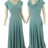 40s Aqua Draped Neck Gown-1940s Vintage Evening Dresses