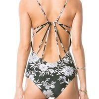 Amuse Society Swimwear Elliot Floral One Piece Swimsuit in Black Sands SO188EFO