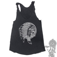 Native American Skull on Tri-blend Tank American Apparel TR308