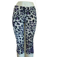 Leopard print crop leggings, print leggings, workout wear, fitness apparel, sizes S, M, L