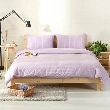 2018 Light Purple Stripes Bed Cover Knit Cotton Bedding Set Twin Queen King Duvet Cover Set Flat/Fitted Sheet Pillowcases Linens