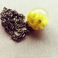 Dried Flower Necklace Real Flower Resin Ball Orb Globe Jewelry Yellow Flower Botanical Jewelry Gift for Her