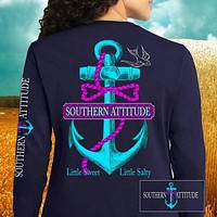 Country Life Outfitters Southern Attitude Anchor Bow Navy Vintage Girlie Bright Long Sleeves T Shirt