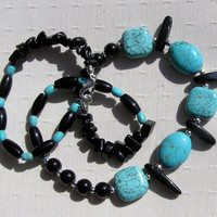 "Turquoise & Black Onyx Crystal Gemstone Necklace - ""Summer Seas"" - Special Offer Price"