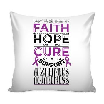 Alzheimers Graphic Pillow Cover Faith Hope Cure Support Alzheimers Awareness