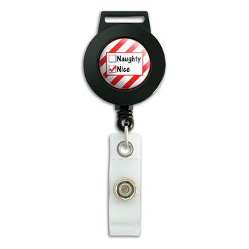 Naughty or Nice Christmas Funny Retractable Badge Card ID Holder