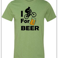 Bicycle T-Shirt -I Bike for Beer-Mountain Bike Shirt in Heather Green-Spring