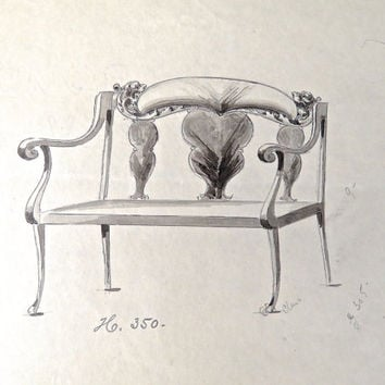 Antique Watercolor Painting of a Settee - Antique Architectural Drawing