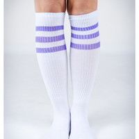 White and Neon Purple Stripe Knee High Socks