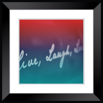 Live Laugh Love photography, word photography, pink, blue teenage girl bedroom decor retro large poster wall art home decor