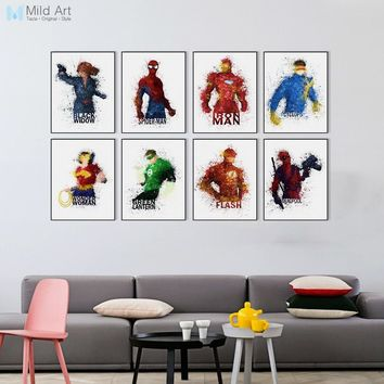 Watercolor Superhero Avengers Infinity War Movie Spiderman Posters Prints Kids Room Wall Art Pictures Home Decor Canvas Painting