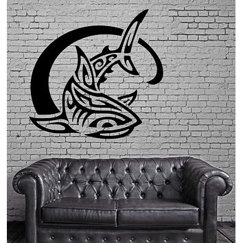 Shark & Wave Ocean Sea Marine Animal Art Decor Wall Mural Vinyl Sticker Unique Gift M448