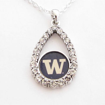 Washington Huskies NCAA Teardrop Clear Crystal Silver Necklace