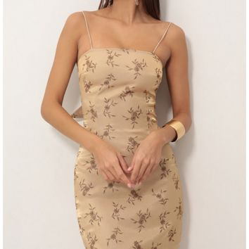 Party dresses > Ariel Tie Back Dress In Autumn Gold