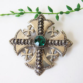 Jerusalem Silver 800 Cross // Pendant-brooch green glass and silver antique// Ornate Biblical Scenes cross