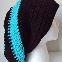 Black & Turquoise Striped Crocheted  Slouchy Beret/Hat