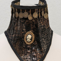 Beautifully nekcorset with copper coins in steampunk style