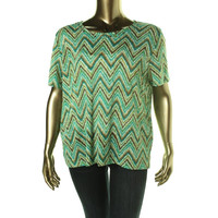 Alfred Dunner Womens Beaded Chevron Pullover Top