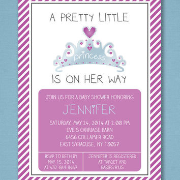 Little Princess Baby Shower Invitation, Girl Baby Shower, Princess Baby Shower, Pink Baby Shower Invitation, Printable Invitation 5x7""