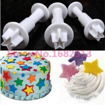New 3Pcs Star plastic fondant plunger cutters,christmas fondant cake decorating tools,cake mold,cookie cutter,cupcake decoration
