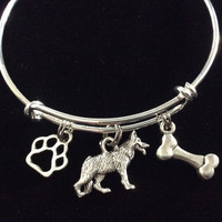 German Shepherd Dog Charm on a Silver Expandable Adjustable Bangle Bracelet Meaningful Dog Lover Gift