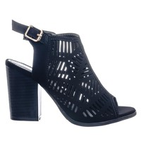 Connie8 Perforated Holes & Side Split Cut Out Peep Toe Ankle Bootie Block Heel
