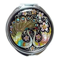 Mother of Pearl Peacock Pair and Flower Design Double Compact Magnifying Purse Mirror, 3.2 Ounce