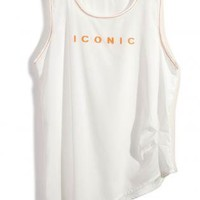 """Iconic"" Sleeveless Tank with Asymmetrical Hemline"