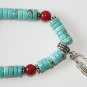 Bracelet, Southwest inspired, Turquoise, Red, Feather charm, Silver, Stretch, Gift, Stacking bracelet, READY TO SHIP