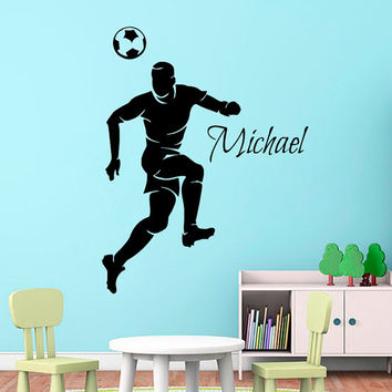 Football Wall Decal Boy Personalized Name Stickers Soccer Player Vinyl Decals Sport Art Home Bedroom Interior Design Boys Room Decor KI45