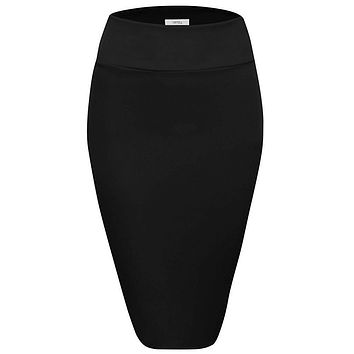 Scuba Pencil Skirt Midi Bodycon Skirt Below Knee Skirt, Office Skirt High Waist