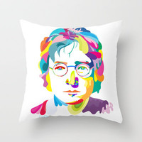 John Lennon Throw Pillow by Daniel Cash