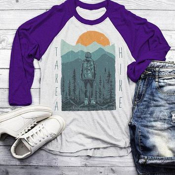 Men's Hiking T Shirt Take A Hike Shirt Graphic Tee Hiker Shirts Nature Wanderlust 3/4 Sleeve Raglan