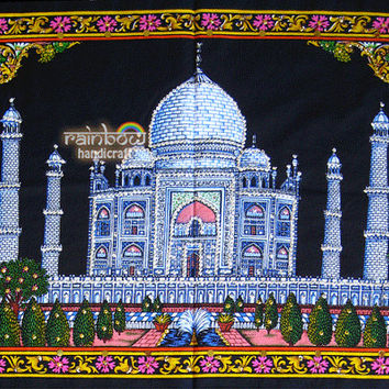 taj mahal batik wall hanging sequin cotton tapestry ethnic handmade home decor asian Indian wonders folk art gift