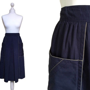 1980's Skirt - 80's Vintage Midi Skirt - Large Pockets - Navy Blue With Khaki Piping - XS Small - Cotton Casual Skirt