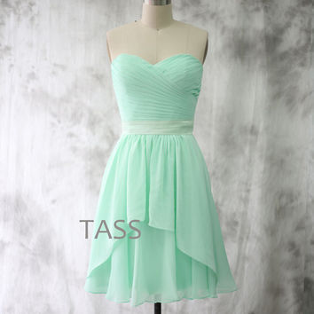 Cocktail Dress, Pale Mint Bridesmaid dress, Wedding dress, Short Chiffon dress, Strapless Party dress, Formal Dress, Prom dress