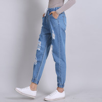 2017 Ripped Boyfriend Jeans Woman Loose Casual Denim Pants High Waist Jeans Femme Trousers Ankle-length Distressed Harem Pants