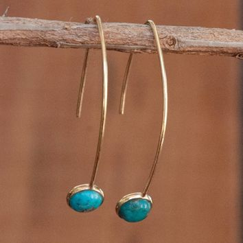 Gold Threader Earrings - Turquoise (BJE040C)