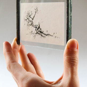 Miniature Original INK Tree DRAWING #1 in Unique HANDMADE Picture Frame Beautiful Detailed Intricate Nature Fine Art. Home Decor- Wall Decor