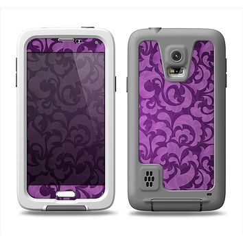 The Purple Bright Lace Pattern Samsung Galaxy S5 LifeProof Fre Case Skin Set