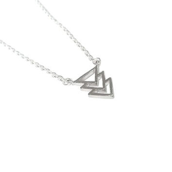Silver Dainty Overlapped Triangle Necklace, Tiny Elegant Necklace, Arrow Necklace, Gift for Her, Minimalist Tri Force Charm Necklace