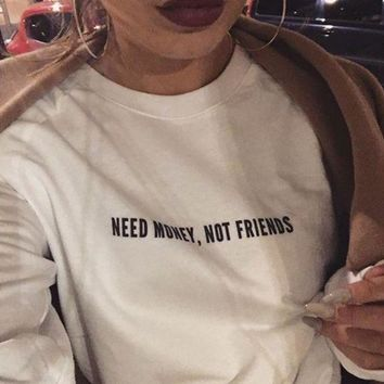 PEAPJ1A [NEED MONEY NOT FRIENDS] fashion cotton sweater