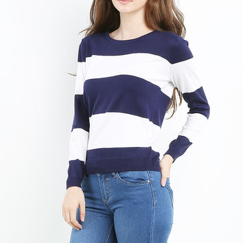 Round Neck Color Block Top