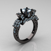 French 14K Black Gold Aquamarine Wedding Ring, Engagement Ring R198-14KBGAQ