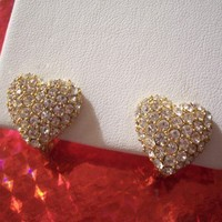 Monet Heart Clip On Earrings Gold Tone Vintage Swarovski Round Crystal