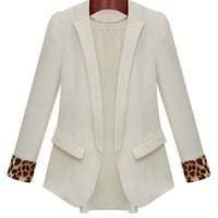 Leopard Accent Long Sleeve Collared Blazer