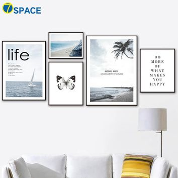 7-Space Beach Sea Butterfly Wall Art Canvas Painting Nordic Posters And Prints Landscape Paintings For Living Room Wall Decor