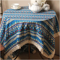 Vintage Lace Embroidered Tablecloth Striped Printing Tablecloths Blue Red Round Table Cloth Wedding Table Cloth Round Bohemian