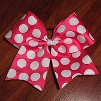 Shocking Pink and White Polka Dot Cheer Bow